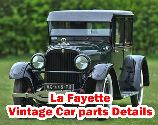 This Article is about Classic Convertible La Fayette Spare parts Infomatons : Engine,Cylinders,Battery,Wheelbase,Weight,Tires,RIms and etc.